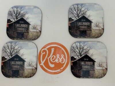 """Kess InHouse Angie Turner""""Mail Pouch Barn"""" Wooden House Coasters"""