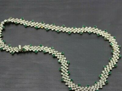 1950s Jewelry Styles and History Authentic Vintage 1950's Silver Tone Rhinestone Green Necklace 18