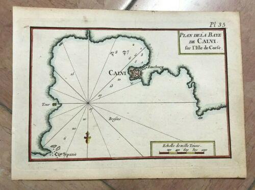 CORSICA CALVI 1764 JOSEPH ROUX NICE ANTIQUE ENGRAVED SEA CHART 18TH CENTURY