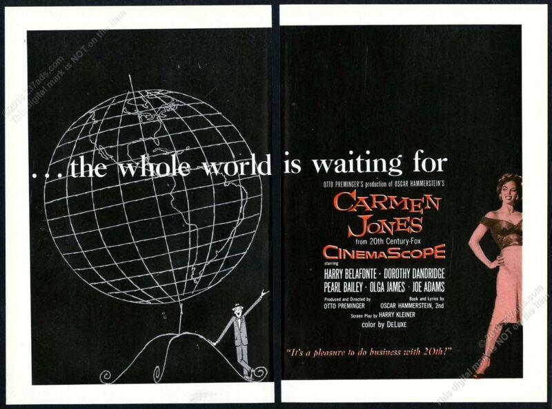 1955 Carmen Jones movie release Saul Bass art scarce vintage trade print ad