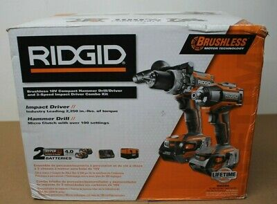 Ridgid Brushless 18v Compact Hammer Drilldriver 3-speed Impact Driver Combo