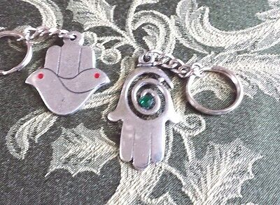 JEWISH JEWELRY 2 HAMSA HAND KEY CHAINS ALL NEW.