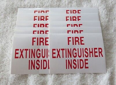 10 Self-adhesive Vinyl Fire Extinguisher Inside Signs..3 X 4 New