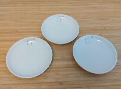 "3 Crate & Barrel Kahla Scribble 4"" Tea Bag Holder Spoon Rest Condiment Plates"