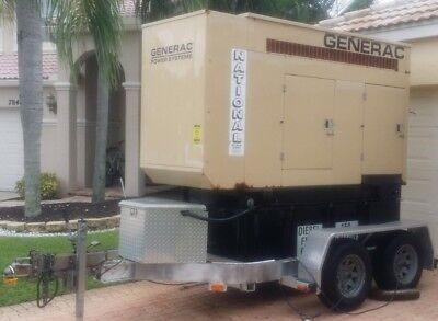 60 Kw Singlethree Phase Generac Diesel Generator Wtrailer John Deere Motor