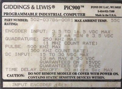 Giddings Lewis Plcs Pic900 Input Encoder 4 Channels 502-03786-00 R1