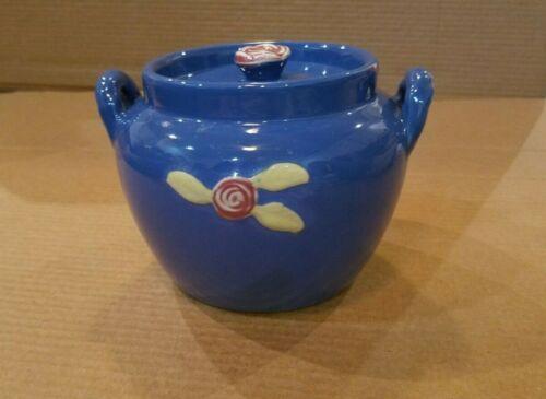 COORS POTTERY Rosebud Bean Pot Jar Blue With Lid Vintage
