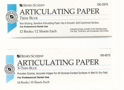 Henry Schein, Articulating Paper, Thin Blue 11x12 shts + X-Thin Blue 13x10shts