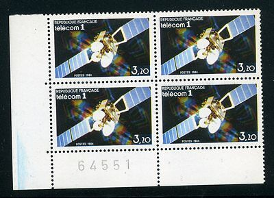 France 1984 Telecom 1 Satellite Stamp Sheet No Block Of 4 Mint