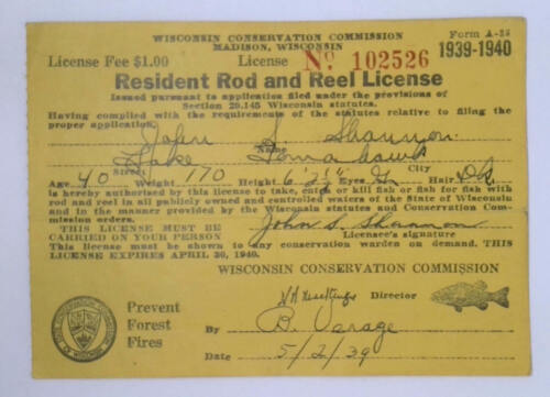 1939 Lake Tomahawk Wisconsin Conservation Commission Resident Fishing License