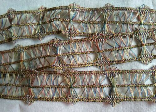 """ANTIQUE/VINTAGE WOVEN OMBRE SILK OR RAYON LACE DRESS TRIM~UNUSUAL~40"""""""