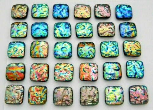 Lot of 30 pcs SQUARE DICHROIC earrings bracelet FUSED GLASS (U10) MOSAIC TILES