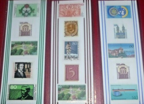 3 BOOKMARKS ~ GERMANY POSTAGE STAMPS Laminated GOOD LOT COLORFUL  778