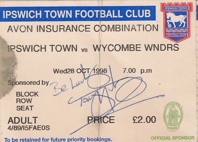 Ticket - Ipswich Town Reserves v Wycombe Wanderers Reserves 28.10.98