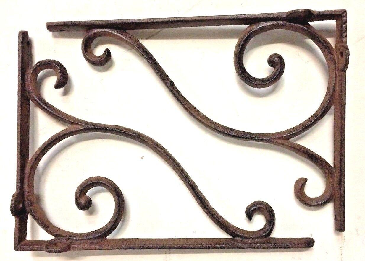 SET OF 4 RUSTIC  BROWN SCROLL BRACE//BRACKET vintage looking patina finish