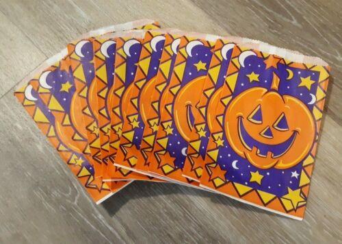 Vintage Halloween Paper Candy Treat Bags Set of 10 Fun World JOL Pumpkin
