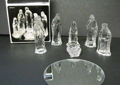 Glass Nativity Set (Clear Glass Nativity Set w/Mirror Stand 7 Pieces Gorgeous Designs Inc. In)
