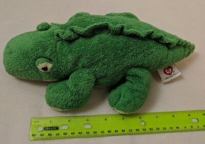 Ty Pluffies Chomps the Green Alligator Crocodile Lizard Plush Tylux 2005 Used