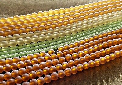 MIXED LOT ROUND FROSTED GLASS BEAD STRANDS (14) 4MM 6MM 8MM YELLOW GREEN BROWN