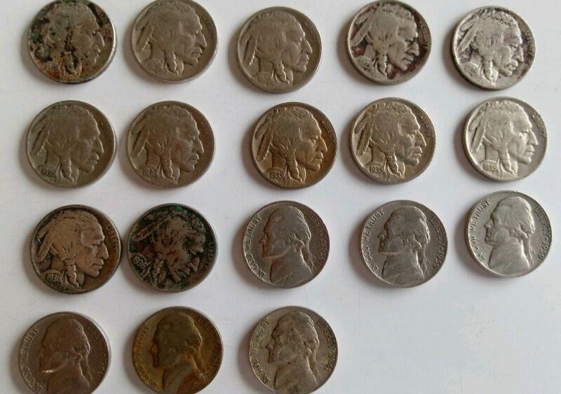 18 Mixed Buffalo & Jefferson Nickels Coin Lot
