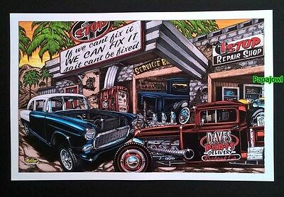 "Hot Rod Art 1955 Chevrolet 55 ""IF WE CAN'T FIX IT IT CAN'T BE FIXED""  11"" x 17"""