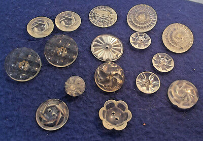 Assortment of Vintage Clear Plastic Buttons  - Variety of Patterns (635)