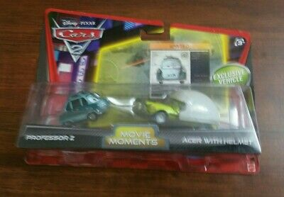 Disney Cars 2 PROFESSOR Z & ACER WITH HELMET Movie Moments Pack Ships 24 hrs