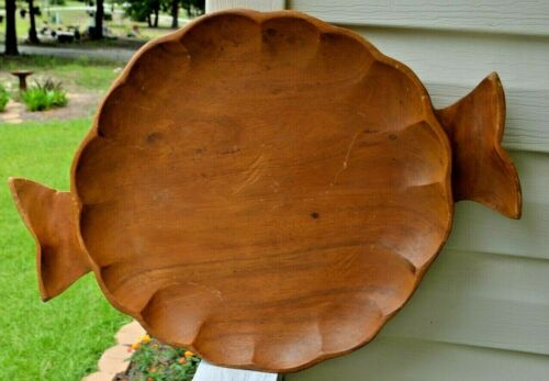 "Vintage Large Wood Hand Carved Handled Serving Tray 18"" X 14 1/2 """