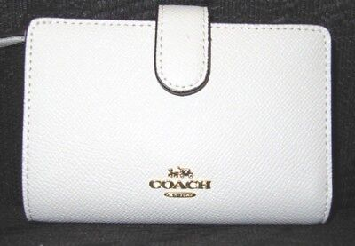 Coach Chalk Ivory Cross Grain Leather Medium Corner Zip Wallet F11484 NWT $165