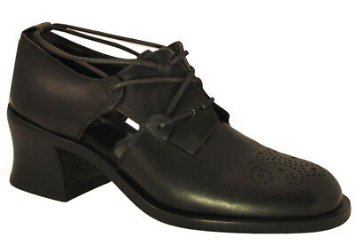 Italian Lace Shoes - Smith Women's 18803 Italian Lace Up Low Heel Shoes Black