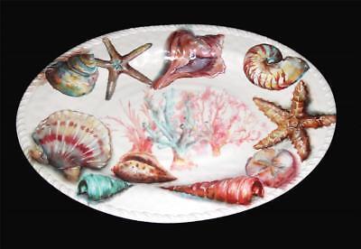 Oval Melamine Deep Platter (Merritt CORAL SEASHELL Starfish Thick Heavy Melamine 18