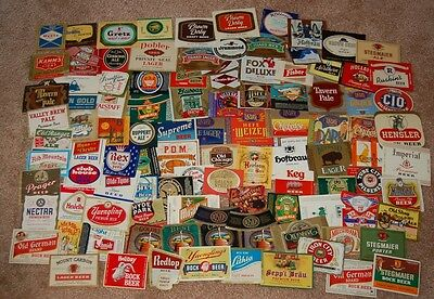 Set of 100 Vintage Beer Bottle Labels, includes  some IRTP, All UNUSED