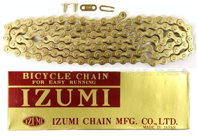 "Izumi Gold 1/2"" x 1/8"" 116L BMX Track Fixed Gear Single-Speed Bicycle Chain"