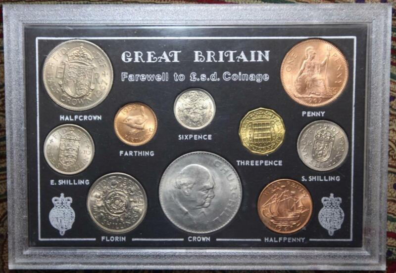Great Britain Farewell to L.s.d. Coinage 10 Coin Set 1955-1967 Uncirculated
