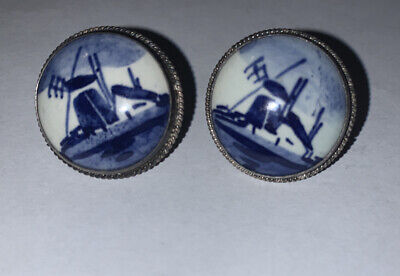 Vintage Signed Delft Clip On Earrings Silver 835 Holland Windmill