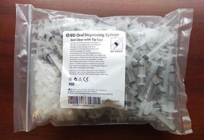 Bd Oral Dispensing Syringe 3ml Clear With Tip Cap 305220 Newsealed Bag Of 100