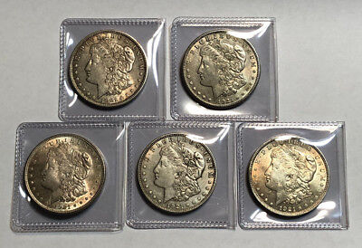 A Lot of 5 Circulated $1 1921 Morgan Silver Dollars with Atleast 1 D & 1 S Mint