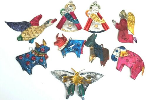 9 Vintage Mexican Folk Art Punched Tin Christmas Ornaments Lot of 9 Butterfly