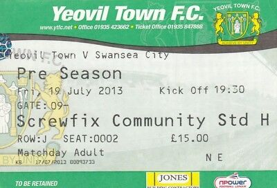 Ticket - Yeovil Town v Swansea City 19.07.13 Friendly