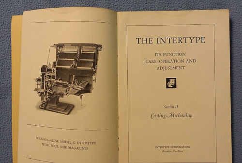 Vintage Intertype Casting Mechanism Care Operation Manual printing typesetting