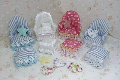 Miniature Dollhouse Armchair & Ottoman. Nursery, Living Room, Bedroom Furniture