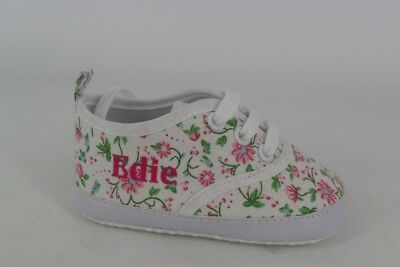 """My 1st Years Personalised With Name """"EDIE"""" Floral Trainers 6-12 Months CH10 23"""