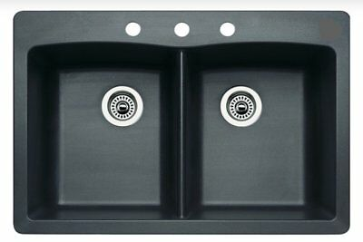Bowl Silgranit Undermount Sink (Blanco 442277 Merkur Silgranit Double Bowl Drop-in & Undermount)