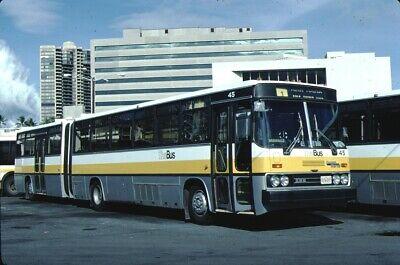 Honolulu TheBus Crown Ikarus bus Kodachrome original Kodak Slide