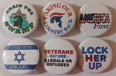 Rally Support President Donald J. TRUMP Badge Button Pin set of 6
