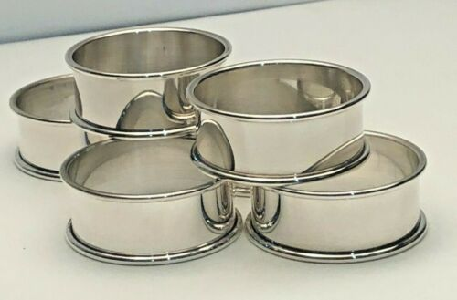 """Set of 6 Plain Sterling Silver Napkin Rings .75"""" wide, excellent condition"""