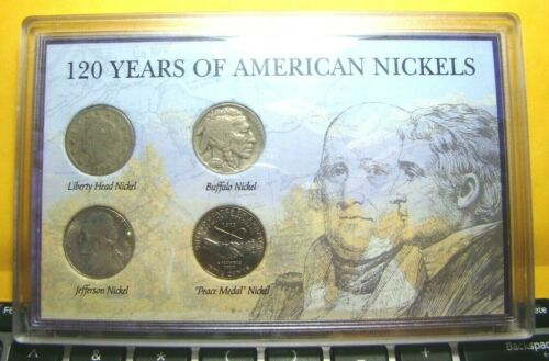 120 Years of American Nickels Collection -  Liberty, Buffalo, Jefferson & Peace