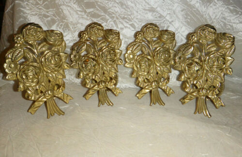 Vintage Brass Curtain Drapery Tie Backs Rose Bouquet Lot of 4