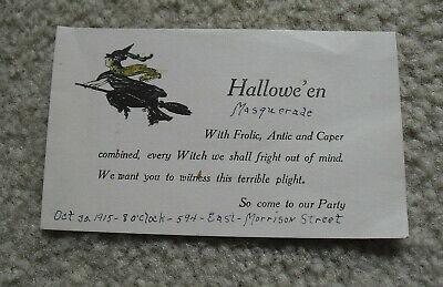 Masquerade Halloween Invitations (Interesting Vintage 1915 Halloween Masquerade Invitation)