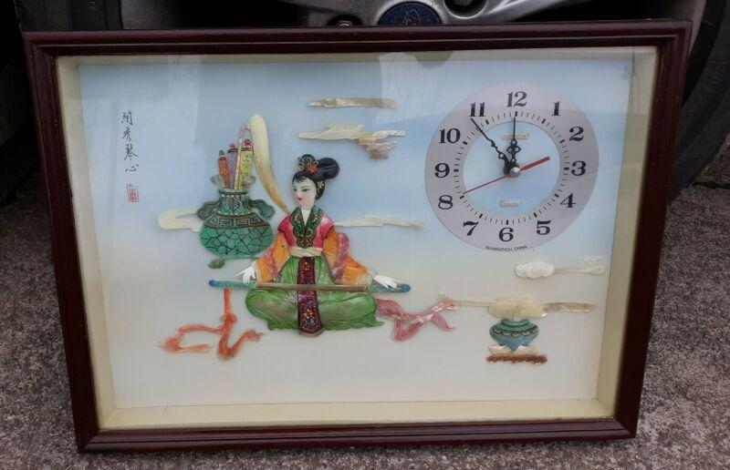 """Geisha Clock Chinese (Sinok) 20"""" X 14.5"""""""